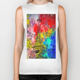 Eiffel Tower at Paris hotel and casino, Las Vegas, USA,with red blue yellow painting abstract backgr Biker Tank