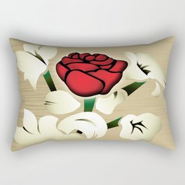 Red Rose with Mint Cream Background Rectangular Pillow