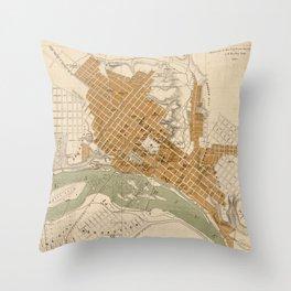 Vintage Map of Richmond VA (1864) Throw Pillow