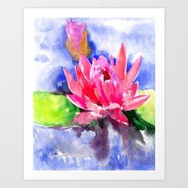 Lotus Flower, pink lotus Asian ink art, pink blue lily pod, waterlily flower Art Print