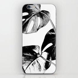 Black monstera leaves watercolor iPhone Skin