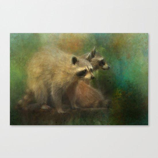 Raccoons Waiting for Nighfall Canvas Print