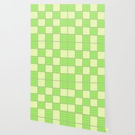 Green Checks - Green Polka Dot and Plain Yellow Wallpaper