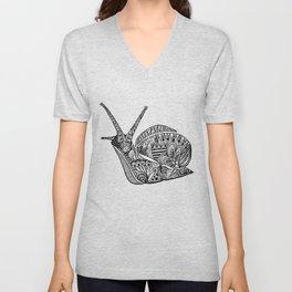 Zentangle Snail Unisex V-Neck
