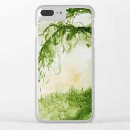 Green Sap Green WaterColour Tree by CheyAnne Sexton Clear iPhone Case