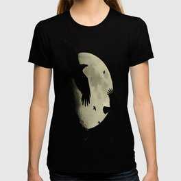 A Murder Of Crows Flying Across The Moon T-shirt