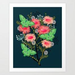 Luna Moth Florals by Andrea Lauren  Art Print