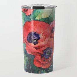 Watercolor red poppy flowers Travel Mug