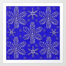 DP044-10 Silver snowflakes on blue Art Print