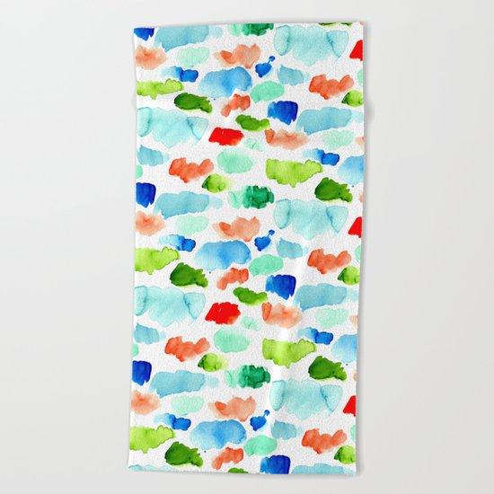 Watercolor Swatch Pattern Beach Towel