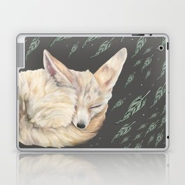 Fennec Fox Feather Dreams in Green & Grey Laptop & iPad Skin
