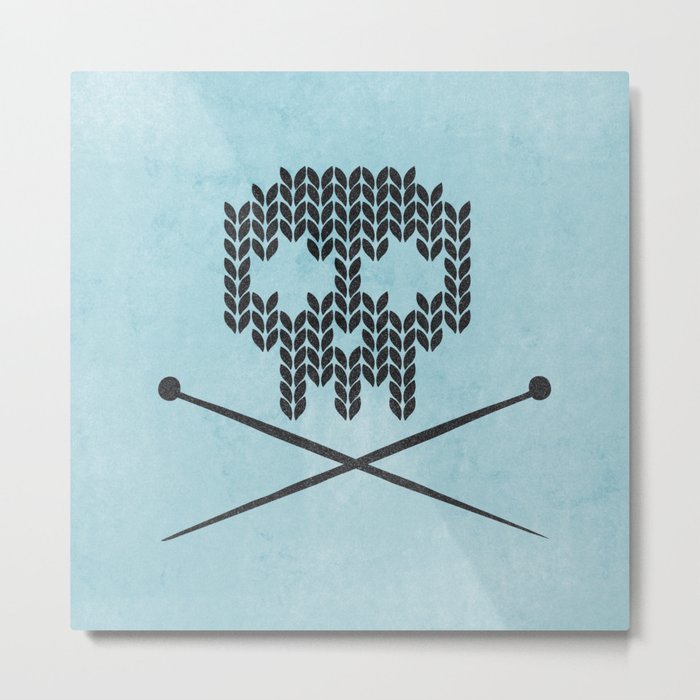 Knitted Skull (Black on Light Blue) Metal Print