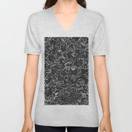 Watercolor Chinoiserie Block Floral Print in Black Ink Porcelain Tiles Unisex V-Neck