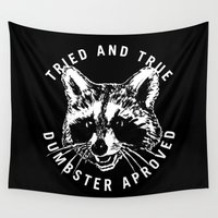 racoon Wall Tapestries featuring tried and true by Ben Gallegos