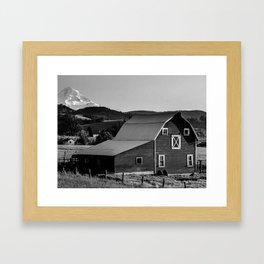 Barn in Hood River Valley, with Mount Hood Framed Art Print