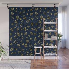 Gold Leaves Design on Dark Blue Wall Mural