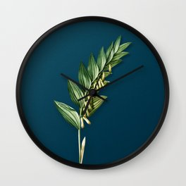 Vintage Angular Solomon's Seal Botanical Illustration on Teal Wall Clock