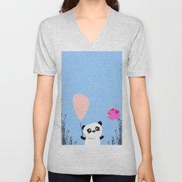 Cute Panda and Bird Unisex V-Neck