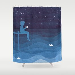 Boy with paper boats, blue Shower Curtain