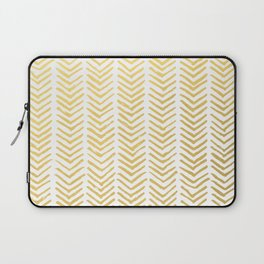 Brush painted chevron in gold Laptop Sleeve