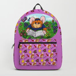 Hammy reading in a meadow (dark pink) Backpack