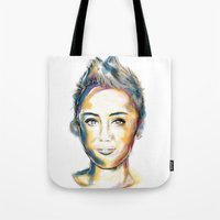 miley cyrus Tote Bags featuring Miley Cyrus by caffeboy