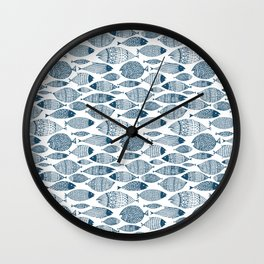 Blue Fish White Wall Clock