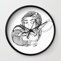 laura palmer Wall Clocks featuring Laura by eva vasari