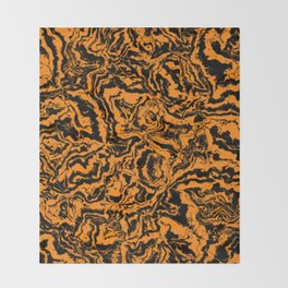 modern scramble, black and orange Throw Blanket