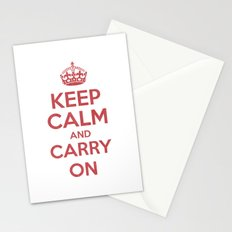 keep Calm and Carry On - Red/White Book Stationery Cards