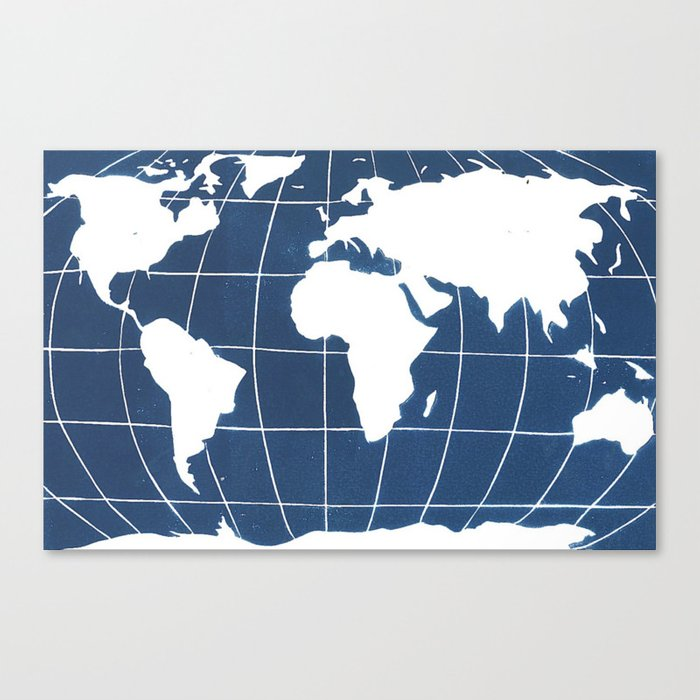 Navy Map of the World Canvas Print by wordsigiveby
