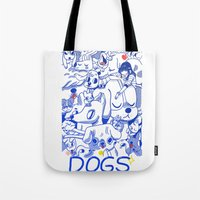 dogs Tote Bags featuring Dogs✧ by Natali Koromoto