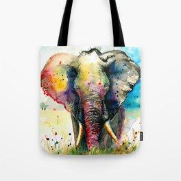 RAINBOW ELEPHANT WATERCOLOR Tote Bag
