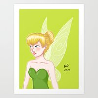 tinker bell Art Prints featuring Tinker Bell by Fran Abigail