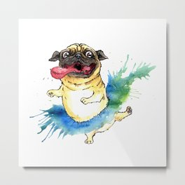 Happy Tutu Pug Metal Print