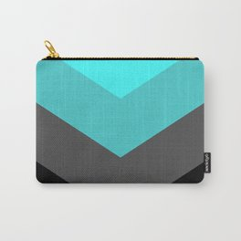 Aqua Gray Chevron Stripes Carry-All Pouch