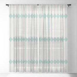 Minimal Geometric - Teal Sheer Curtain