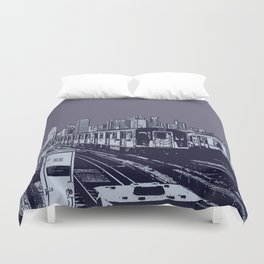 New York, NYC, Subway Train Yard at Night. (Photo collage, travel, gritty streets, graffiti) Duvet Cover