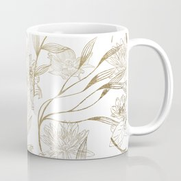 Elegant white gold modern trendy floral Coffee Mug
