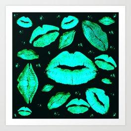 Kisses All Over (Green) Art Print