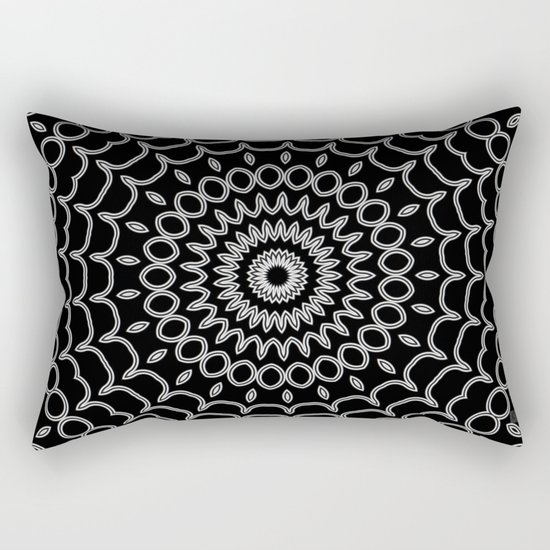 Mandala Fractal in Black and White Rectangular Pillow