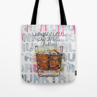 whisky Tote Bags featuring Whisky on the rock by MiartDesignCreation