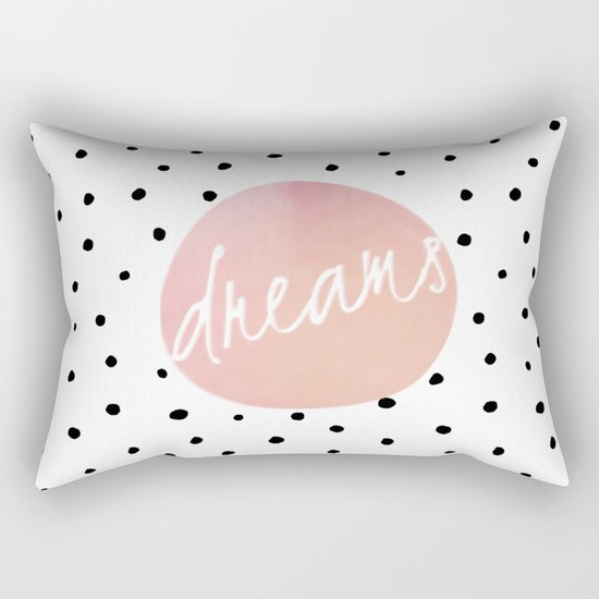 Dreams- Polkadots and Typography on pink background #Society6 Rectangular Pillow