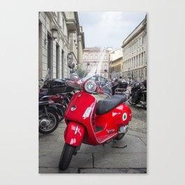 Red Vespa in Milan, Italy Canvas Print