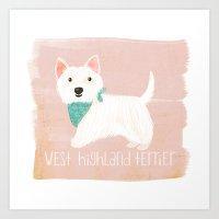 westie Art Prints featuring Westie by 52 Dogs