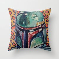 boba Throw Pillows featuring BOBA FETT by Jamil Zakaria Keyani