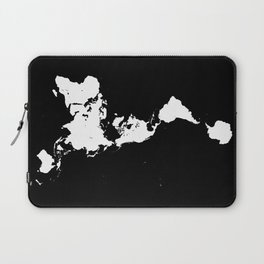 Dymaxion World Map (Fuller Projection Map) - Minimalist White on Black Laptop Sleeve