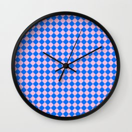 Cotton Candy Pink and Brandeis Blue Diamonds Wall Clock