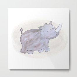 Animal Tales - Rhino in watercolor Metal Print