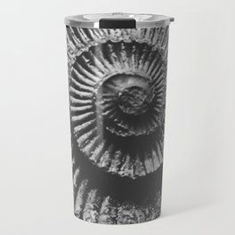 Grey scale ammonite Travel Mug